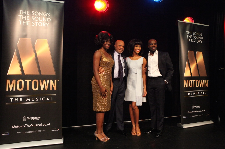 Aisha Jawondo (Martha Reeves), Berry Gordy, Lucy St. Louis (Diana Ross) and Cedric Neal (Berry Gordy) at the Motown The Musical launch