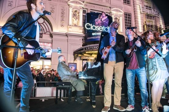 Close To You Opening Night. Burt Bacharach and the cast perform in Piccadilly Circus. Photo credit Craig Sugden.