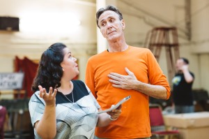 Jennie Dale and Joe McGann in rehearsals for Elf The Musical. Credit Becky Lee