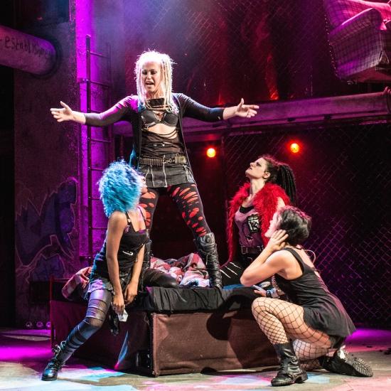 London Cast L-R Raquel Jones (Extraordinary Girl), Amelia Lily (Whatsername), Natasha Karp (Alysha) & Robyn Mellor (Libby) - Green Day's American Idiot The Musical - Arts Theatre - Photo By Darren Bell (787)