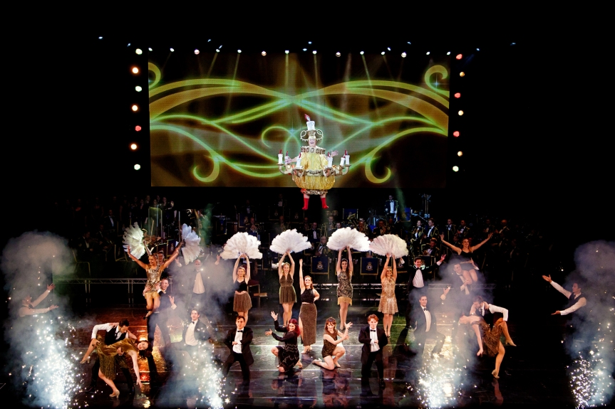 WEH2015 Be Our Guest Christopher Biggins flies in as a chandelier Claire_Bilyard