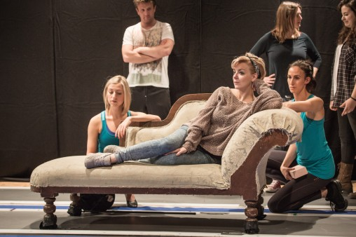 Foreground  is Rebecca Fennelly, Sheridan Smith (Fanny Brice), Kelly Homewood, Background is Stuart Ramsay. By Marc Brenner