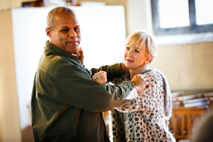 Gary Wilmot and Lisa Maxwell in rehearsals for End of the Rainbow. Photo Credit Pamela Raith Photography (2)