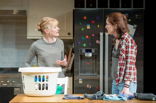 Claire Skinner (Becca) and Georgina Rich (Izzy) in Rabbit Hole at Hampstead Theatre. Photos by Manuel Harlan.